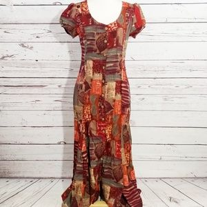 French Connection fall patchwork maxi dress